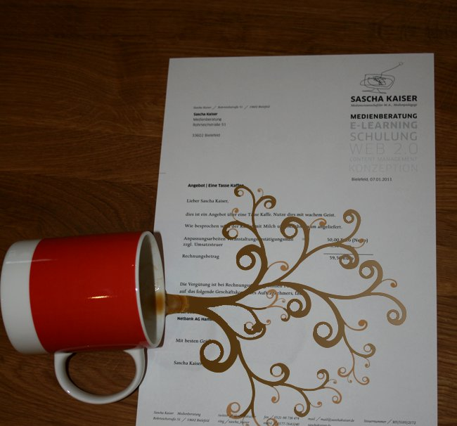 Kaffee auf Papier